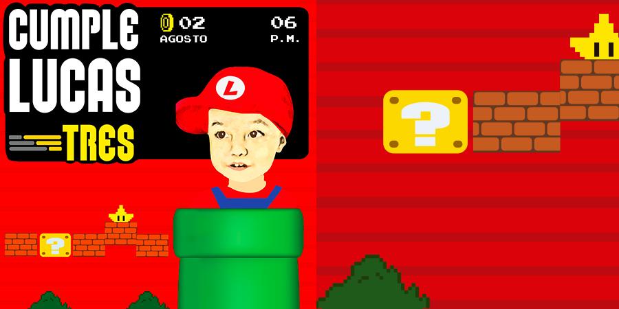 Personalización de Evento: Cumpleaños 3 Lucas <br /> Tema: Mario Bros.