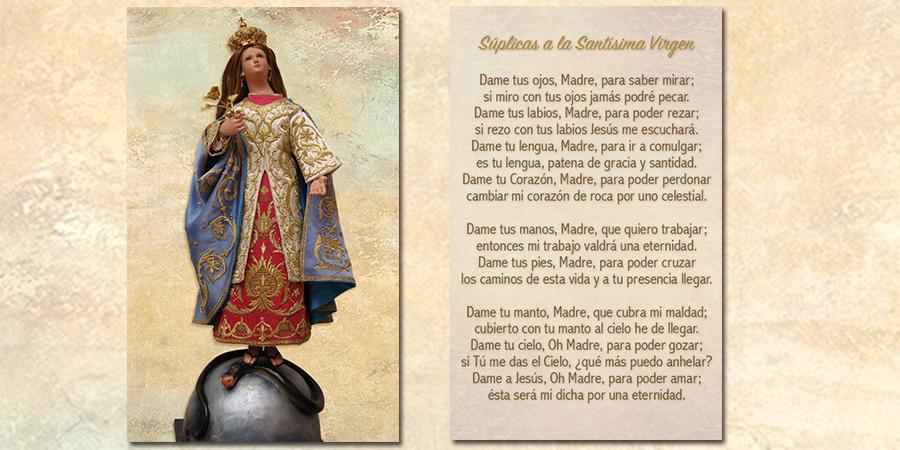 Retoque digital de imagen: Virgen<br /> Aplicación en Oración tamaño bolsillo: Súplicas a la Santísima Virgen