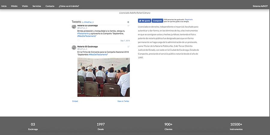 Diseño del sitio web: Notaría Pública No. 3 de Escárcega, Campeche